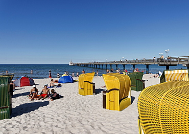 People and beach chairs on the beach in the sunlight, Baltic resort Binz, Ruegen, Mecklenburg-Western Pomerania, Germany, Europe