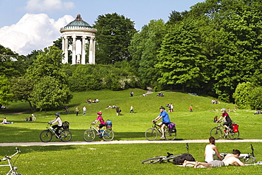 Isar Cycle Route, Monopteros in background, English Garden, Munich, Upper Bavaria, Germany