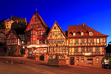 Schnatterloch, half-timbered houses at the market place, Miltenberg, Main river, Odenwald, Spessart, Franconia, Bavaria, Germany