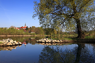 View over Main river to Hafenlohr, Main river, Odenwald, Spessart, Franconia, Bavaria, Germany