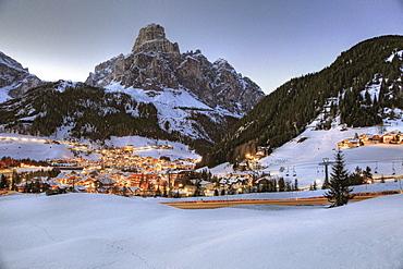 View over Corvara to mount Sassongher in the evening, Alta Badia, Dolomites, Trentino-Alto Adige/Suedtirol, Italy