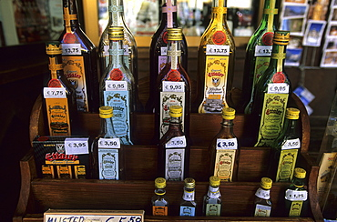 The famous Ettal monastery's liqueur at a sales booth in Ettal, Bavaria, Germany