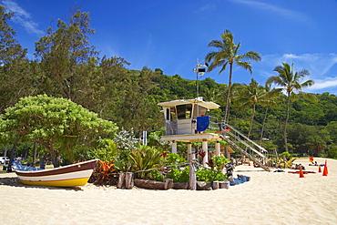 Lifeguard hut on the beach, Weimea Bay Beach Park, North Shore, Oahu, Hawaii, USA, America