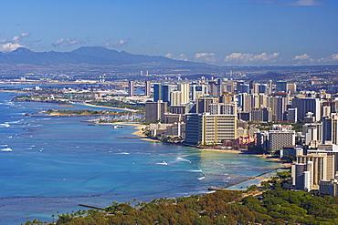 View at high rise buildings of Honolulu and Waikiki Beach, Oahu, Hawaii, USA, America