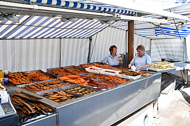 Fishmonger at harbor, Wismar, Mecklenburg-Vorpommern, Germany