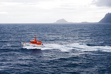 Pilot Boat & Coastline, near Trollfjord, Finnmark, Norway, Europe