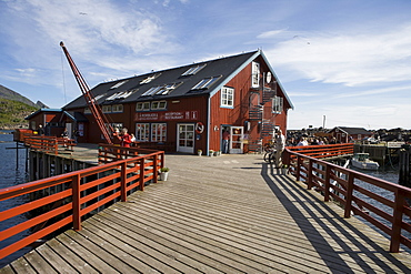 A Rorbuer and Brygga Restaurant on Pier, A, Moskenesoy, Lofoten, Nordland, Norway, Europe