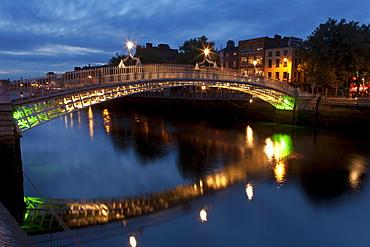 Ha'Penny Bridge and River Liffey, Dublin, County Dublin, Ireland