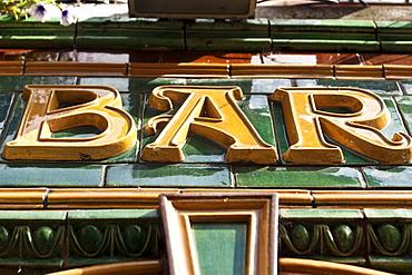 Sign of an Irish pub, Temple Bar area, Dublin, County Dublin, Ireland