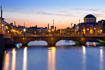 Grattan Bridge and the River Liffey in the evening, Dublin, County Dublin, Ireland