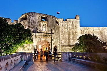 Illuminated town gate, old town, Dubrovnik, Dalmatia, Croatia
