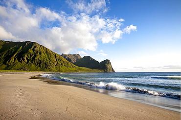Unstad beach, Vestvagoya island, Lofoten Islands, North Norway, Norway