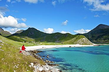 Haukland beach, Vestvagoya island, Lofoten Islands, North Norway, Norway