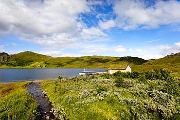 House at Lake, Vestvagoya island, Lofoten Islands, North Norway, Norway