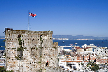 Moorish fortification tower and cityscape, Gibraltar, Europe