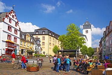 Hachenburg, Old Market, Hotel zur Krone (Steinernes Haus), Protestant city church, Westerwald, Rhineland-Palatinate, Germany, Europe