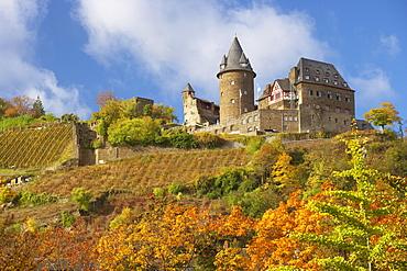 Stahleck castle at Bacharach, River Rhine, Cultural Heritage of the World: Oberes Mittelrheintal (since 2002), Mittelrhein, Rhineland-Palatinate, Germany, Europe