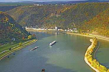 St.Goarshausen and Katz castle, Cultural Heritage of the World: Oberes Mittelrheintal (since 2002), Mittelrhein, Rhineland-Palatinate, Germany, Europe