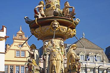 Main market with market fountain, Trier, Mosel, Rhineland-Palatinate, Germany, Europe