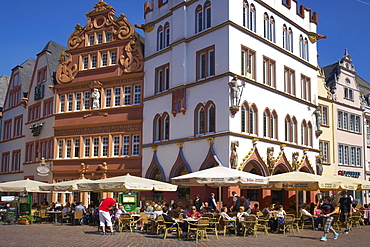 Main market with Steipe and Rotes Haus, Trier, Mosel, Rhineland-Palatinate, Germany, Europe