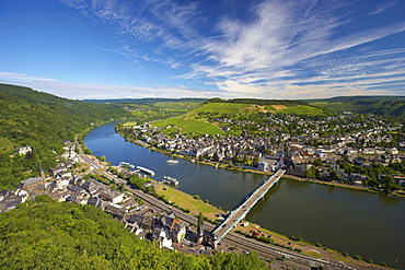 View from Grevenburg at Traben-Trarbach, Mosel, Rhineland-Palatinate, Germany, Europe
