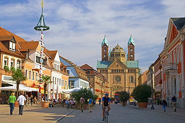Maximilian street and Speyer cathedral, Rhineland-Palatinate, Germany, Europe