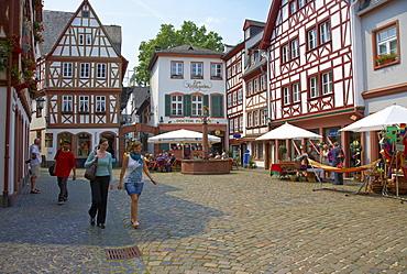 Half-timbered house at Kirschgarten, Old City, Mainz, Rhenish Hesse, Rhineland-Palatinate, Germany, Europe