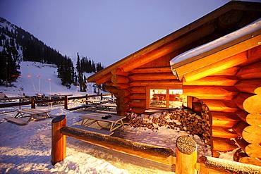 Mountain lodge Crystal Hut, Blackcomb Mountain, Whistler, British Columbia, Canada