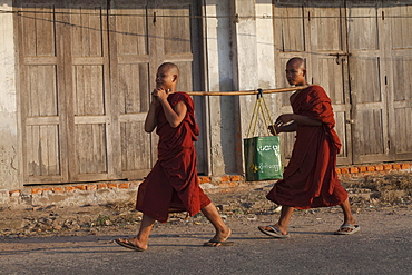Two young buddhistic monks in Hpa-An, Kayin State, Myanmar, Birma, Asia