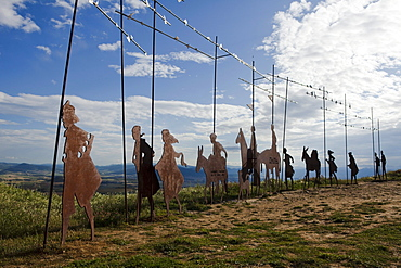 Iron sculpture of a group of pilgrims, Alto del Perdon, Sierra del Perdon, near Pamplona, Camino Frances, Way of St. James, Camino de Santiago, pilgrims way, UNESCO World Heritage, European Cultural Route, province of Navarra, Northern Spain, Spain, Europe