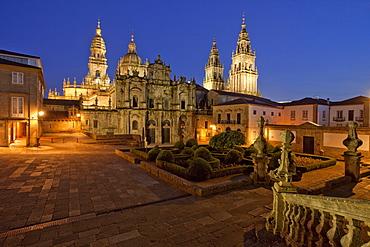 Plaza Immaculada, cathedral of Santiago de Compostela, Camino Frances, Way of St. James, Camino de Santiago, pilgrims way, UNESCO World Heritage Site, European Cultural Route, province of La Coruna, Galicia, Northern Spain, Spain, Europe