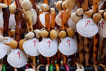 Souvenirs in front of the cathedral of Santiago de Compostela, Camino Frances, Way of St. James, Camino de Santiago, pilgrims way, UNESCO World Heritage, European Cultural Route, province of La Coruna, Galicia, Northern Spain, Spain, Europe