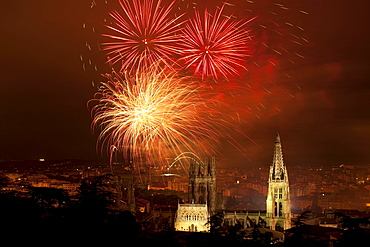 Burgos cathedral at night with firework display, Gothic, Camino Frances, Way of St. James, Camino de Santiago, pilgrims way, UNESCO World Heritage Site, European Cultural Route, province of Burgos, Old Castile, Castile-Leon, Castilla y Leon, Northern Spain, Spain, Europe