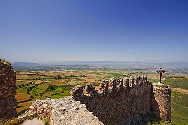 Castillo de Clavijo, view from the castle near Logrono, Camino Frances, Way of St. James, Camino de Santiago, pilgrims way, UNESCO World Heritage, European Cultural Route, La Riojo, Northern Spain, Spain, Europe
