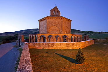 Santa Maria de Eunate, romanic church from the 12th century, mozarabic, near Puente la Reina, Camino Frances, Way of St. James, Camino de Santiago, pilgrims way, UNESCO World Heritage, European Cultural Route, province of Navarra, Northern Spain, Spain, Europe