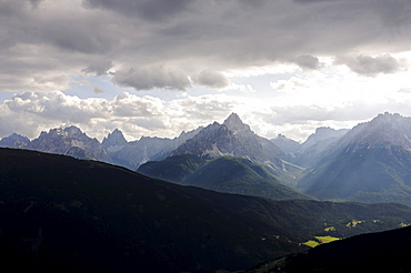 Dreischusterspitze under clouded sky, Innichen, Val Pusteria, Dolomites, South Tyrol, Italy, Europe