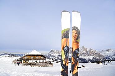 Ski with sexy sliding surface in the snow, Hotel Pralongia, Alta Badia, South Tyrol, Italy, Europe