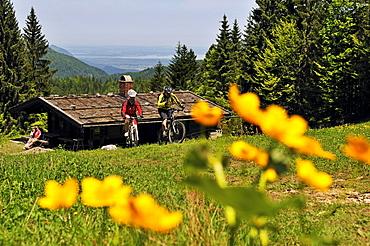 People on mountain bikes at Hindenburg hut, Reit im Winkl, Bavaria, Germany, Europe