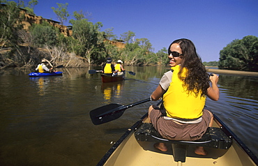 Guests of Wrotham Park Lodge canoeing on the Mitchell River, Queensland, Australia