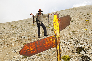 Helpless hiker at summit plateau of Monte Amaro, Caramanico Terme, Maiella National Park, Abruzzi, Italy, Europe