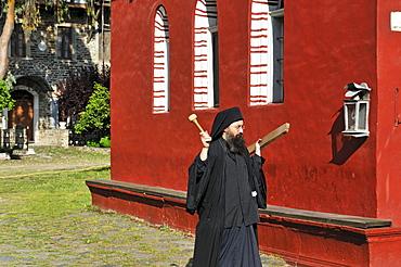 Monk calling to pray, Athos Mountain, Moni Iviron monastery, Chalkidiki, Greece