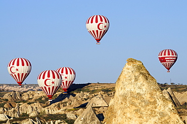 Hot-air-balloons over the Goereme valley, Goereme, Cappadocia, Turkey