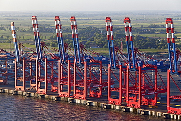 Aerial view of the container port terminal with gantry cranes, Bremerhaven, Bremen, Germany