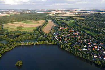 Riddagshausen Abbey monastery and lake near Brunswick, Lower Saxony, Germany