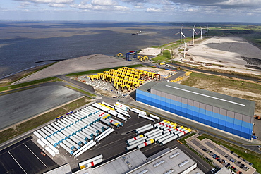 Aerial view of foundation structures for offshore wind turbines, in Cuxhaven harbour, Lower Saxony, Germany