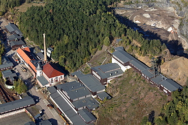 Aerial view of mining museum Rammelsberg, Goslar, Lower Saxony, Germany