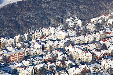 Aerial view of Hannover in the winter snow, city flats on the edge of Eilenriede city forest, Lower Saxony, Germany