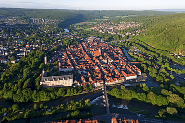 Aerial view of Hannoversch Muenden, Welfen castle on the banks of the Werra river, Lower Saxony, Germany