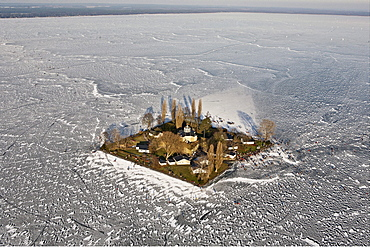 Aerial of people on the frozen Lake Steinhude in winter, Wilhelmstein island, Hannover region, Lower Saxony, Germany