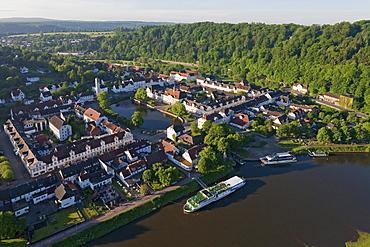 Excursion boat in harbor, Bad Karlshafen, Weser Hills, Hesse, Germany